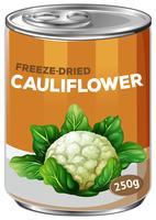 Uma lata de couve-flor liofilizada vetor