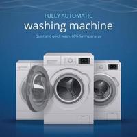 ilustração em vetor pôster realista de máquina de lavar