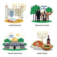 ilustração vetorial conjunto de ícones do conceito de israel vetor