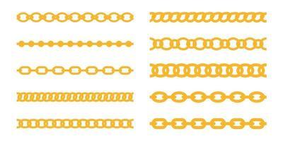 vetor de corrente dourada. joalheria de luxo é feito de correntes de ouro entrelaçadas em uma linha.
