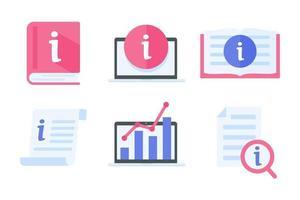 ícone de informações. guia de leitura de gerenciamento de dados conceito de assistência de informações ao cliente vetor