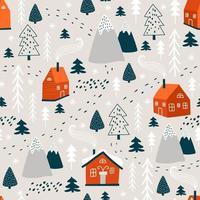 padrão de inverno com árvore de Natal e casa. vetor