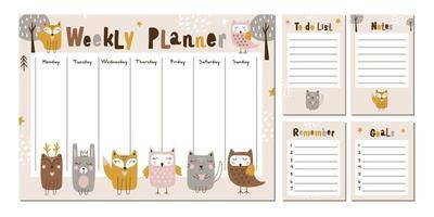 planejador semanal com animais fofos da floresta. vetor