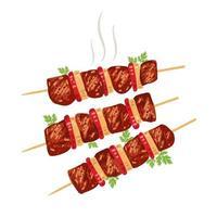 Shish kebab no espeto com cebola e tomate. vetor