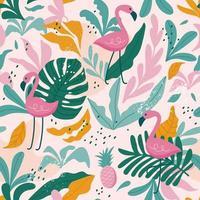 padrão sem emenda tropical com flamingos, folhas exóticas. vetor