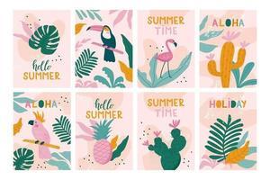 conjunto de cartões de férias de verão. vetor