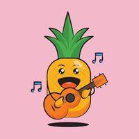 personagem de abacaxi fofo tocando violão vetor