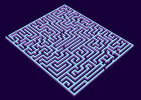 labirinto vetorial, labirinto ilustração de renderização 3D, labirinto azul isométrico vetor