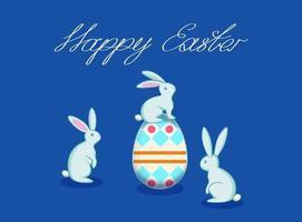 vetor cartão de Páscoa com coelho e ovos, coelho sentado no ovo de Páscoa
