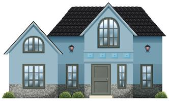 Uma grande casa azul vetor
