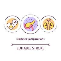 ícone do conceito de complicações de diabetes vetor