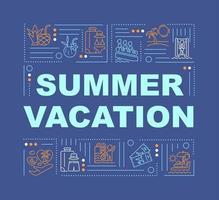 banner de conceitos de palavras de férias de verão vetor
