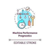 ícone do conceito de prognósticos de desempenho da máquina vetor