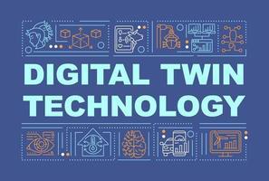 banner de conceitos de palavras de tecnologia dupla digital vetor