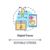 ícone do conceito de traços digitais vetor