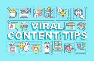 banner de conceitos de palavras dicas de conteúdo viral vetor