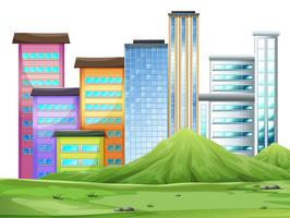 Edifícios na cidade vetor