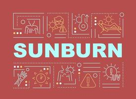 banner de conceitos de palavras de queimadura solar vetor