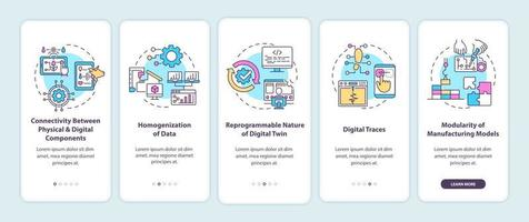 tela da página do aplicativo móvel de integração das características do gêmeo digital vetor