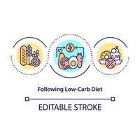 seguindo o ícone do conceito de dieta baixa em carboidratos vetor
