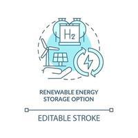 ícone de conceito de opção de armazenamento de energia renovável vetor