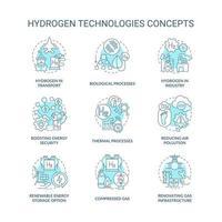 conjunto de ícones de conceito de tecnologias de hidrogênio vetor