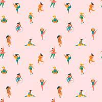 Felizes plus size meninas e estilo de vida ativo. Padrão sem emenda de vetor. vetor