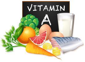 Um conjunto de vitamina A comida vetor