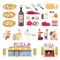 ilustração vetorial conjunto de ícones de pizza vetor
