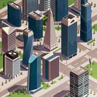 ilustração vetorial de composição isométrica de arranha-céus urbanos vetor