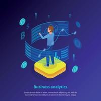 ilustração vetorial de fundo isométrico de análise de negócios vetor