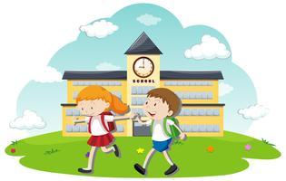Estudante feliz indo para a escola vetor