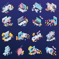 conjunto de ícones de seo ilustração vetorial vetor
