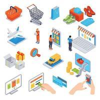 ilustração vetorial conjunto isométrico de compras online vetor