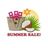 ilustração vetorial de venda de verão em estilo tropical vetor