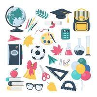 coleção de elementos de design escolar em estilo cartoon vetor