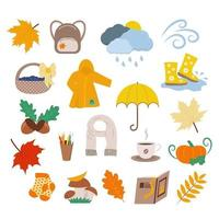 temporada de outono conjunto de elementos de design vetor