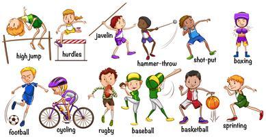 Homens e mulheres fazendo diferentes esportes