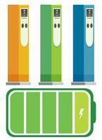 Conjunto de estações de carregamento de carros elétricos vetor