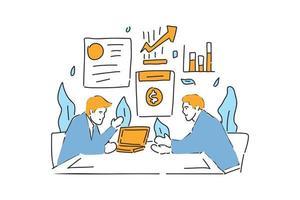 dois empresários falam sobre ilustração desenhada por contrato vetor
