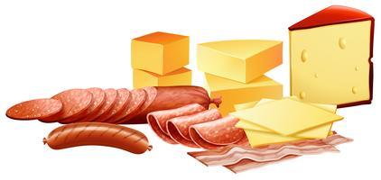 Queijo e diferentes tipos de produtos de carne vetor