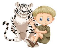 Um menino do safari e tigre vetor