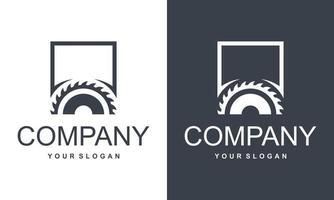 conceito de símbolo de logotipo de botão de vetor de ícone de serra circular.