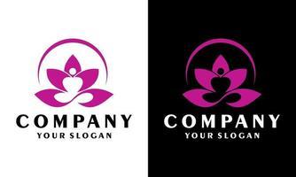 ioga pilates design de logotipo empresarial criativo ícone de flor, lótus vetor