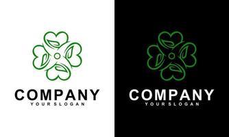 design de logotipo e amor feminino com flor de borboleta vetor