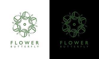 Ilustração em vetor gráfico de design de logotipo com conceito de borboleta floral feminina que se encaixa em qualquer lugar