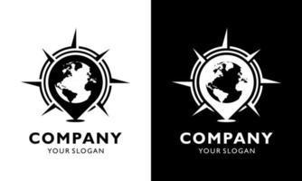 Gráfico de ilustração vetorial do conceito de design de logotipo ícone de localização de bússola globo vintage vetor