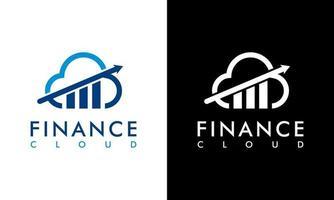 conceito de logotipo financeiro e contábil design gráfico de vetor em nuvem