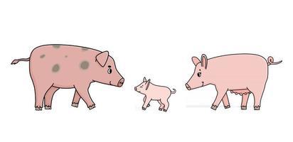 família de porcos-de-rosa fofos. pai, mãe semeia e um leitão vetor