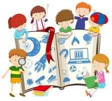 Livro de ciência e crianças vetor